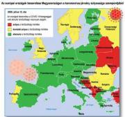 Térképen a piros, a sárga és a zöld jelzésű országok